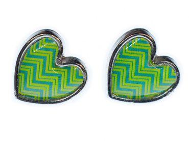 Heart Earrings Ear Studs Earstuds Miniblings Hippie Love Tape Pattern Green Metal – Bild 1