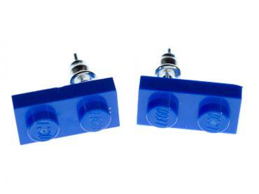 Lego Ohrstecker Miniblings Stecker Ohrringe Spielzeug Baustein blau Rechteck – Bild 1