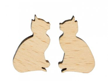 Cat Earrings Ear Studs Earstuds Miniblings Kitty Cat Kitten Sitting Wood – Bild 1