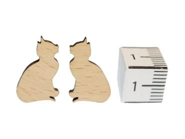Cat Earrings Ear Studs Earstuds Miniblings Kitty Cat Kitten Sitting Wood – Bild 2