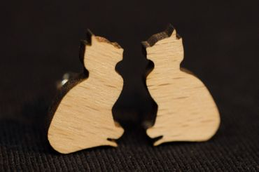 Cat Earrings Ear Studs Earstuds Miniblings Kitty Cat Kitten Sitting Wood – Bild 3