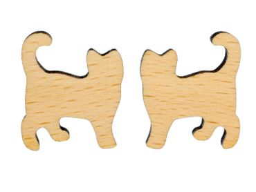 Cat Earrings Ear Studs Earstuds Miniblings Kitty Cat Kitten Felidae Wood – Bild 1