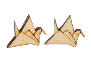 Crane Earrings Ear Studs Earstuds Miniblings Japan Origami Abstract Bird Wood – Bild 1