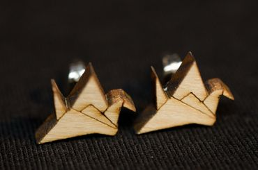 Crane Earrings Ear Studs Earstuds Miniblings Japan Origami Abstract Bird Wood – Bild 3