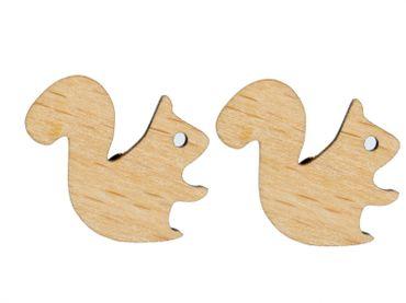Eichhörnchen Ohrstecker Miniblings Stecker Ohrringe Wald Squirrel Nagetier Holz – Bild 1