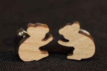 Koala Ohrstecker Miniblings Stecker Ohrringe Outback Australien Beuteltier Holz – Bild 3