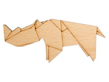 Rhino Rhinoceros Brooch Pin Africa Safari Animals Abstract Origami Wood – Bild 1