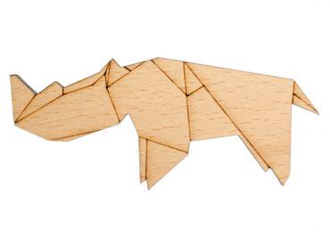 Nashorn Brosche Anstecknadel Krawattennadel Afrika Tiere Abstrakt Origami Holz – Bild 1