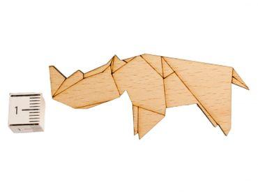 Nashorn Brosche Anstecknadel Krawattennadel Afrika Tiere Abstrakt Origami Holz – Bild 2