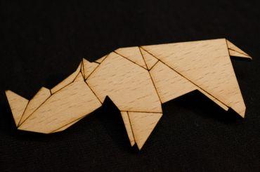 Nashorn Brosche Anstecknadel Miniblings Afrika Rhinozeros Abstrakt Origami Holz – Bild 3