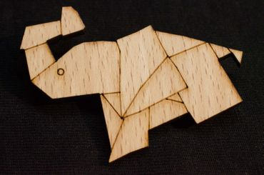 Elephant Brooch Pin Tie Pin Pachyderms Abstract Origami Wood – Bild 3
