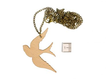 Dove Pidgeon Necklace Miniblings Flying Bird Schwalbe Eagle Wings Wood – Bild 2