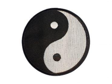 Yin Yang Bügelbild Aufnäher Aufbügler Miniblings Zeichen schwarz weiß 9cm – Bild 1
