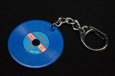 Record Key Chain Key Ring Music Records Miniblings Key Ring Dj Music Blue – Bild 3