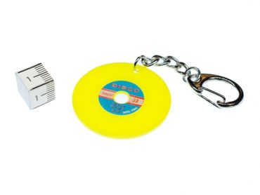Record Key Chain Key Ring Music Records Miniblings Key Ring Dj Music Yellow – Bild 2