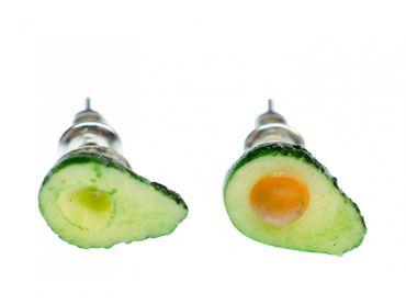 Avocado Earrings Ear Studs Earstuds Miniblings Fruit Superfood Food Summer Clay – Bild 1