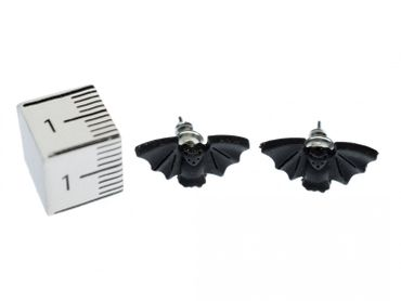 Bat Earrings Ear Studs Earstuds Miniblings Male Animal Vampire Dracula Halloween Bat – Bild 2