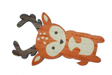 Deer Lasercut Brooch Pin Wooden Deer Reindeer Fallow Deer Forest Animal – Bild 1