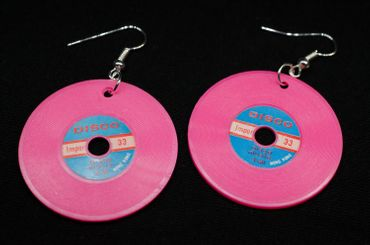 Record Earrings Lp Vinyl Dj Music Miniblings Plate Earrings XL Pink – Bild 2