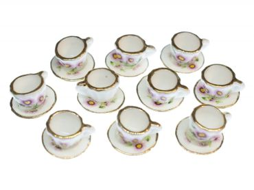 10X Cup Dollhouse Dollhouse Cup Porcelain Ceramic Flower Tea Coffee Golden Rim – Bild 1