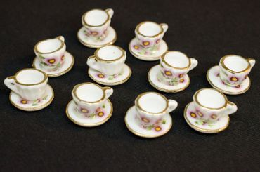 10X Cup Dollhouse Dollhouse Cup Porcelain Ceramic Flower Tea Coffee Golden Rim – Bild 3