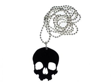 Skull Necklace Miniblings Acrylic Black Skull Large Gothic Halloween 80cm – Bild 1