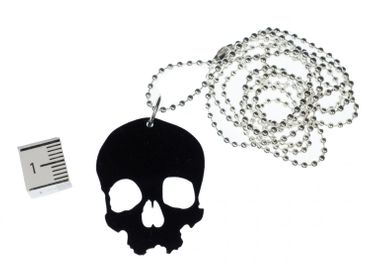Skull Necklace Miniblings Acrylic Black Skull Large Gothic Halloween 80cm – Bild 2