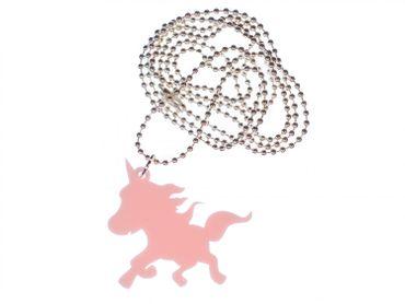 Einhorn Kette Halskette Miniblings 80cm rosa wehende Mähne Acrylglas Unicorn LC – Bild 1