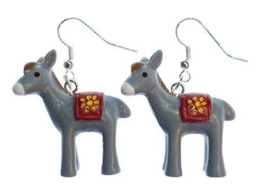 Donkey Earrings Miniblings Mule Gray Hoofed Animal Peru Sun 3D – Bild 1
