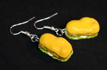 Hot Dog Ohrringe Hänger Miniblings Burger Fast Food Sandwich Amerika Essen 3D – Bild 3