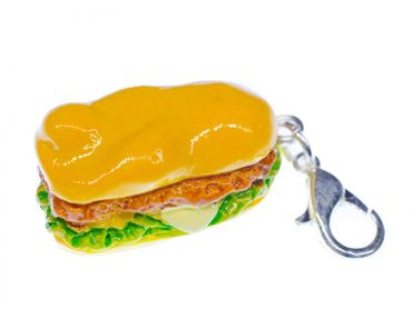 Hot Dog Charm Anhänger Bettelarmband Miniblings Burger Sandwich Fast Food 22mm – Bild 1
