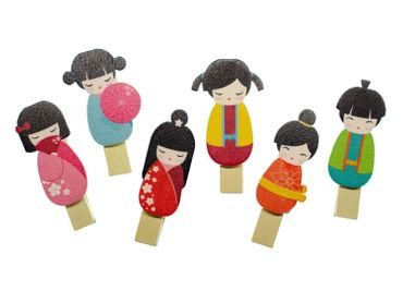 5X Clip Miniblings Clothespin Mix Asian Doll Geisha Deco Asia Colorful – Bild 1