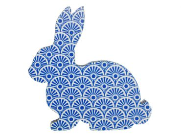 Brooch Miniblings Button Easter Bunny Rabbit Wood Dark Blue – Bild 1