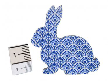 Brooch Miniblings Button Easter Bunny Rabbit Wood Dark Blue – Bild 2