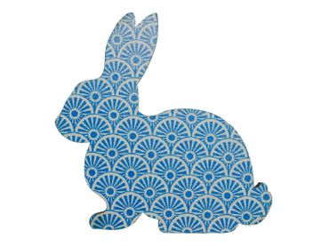 Brooch Miniblings Button Easter Bunny Rabbit Wood Light Blue – Bild 1