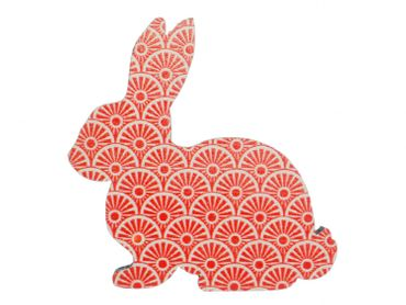 Bunny Rabbit Hare Brooch Pin Pin Miniblings Rabbit Easter Bunny Wood Rot – Bild 1