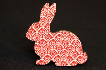 Bunny Rabbit Hare Brooch Pin Pin Miniblings Rabbit Easter Bunny Wood Rot – Bild 3