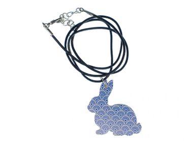 Rabbit Necklace Miniblings 45cm Leather Bunny Rabbit Wood Light Blue – Bild 1