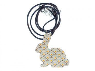 Hase Kette Halskette Miniblings 45cm Leder Osterhase Kaninchen Holz türkis – Bild 1