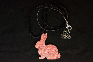 Rabbit Necklace Miniblings 45cm Collar Leather Bunny Rabbit Wood Rot – Bild 3