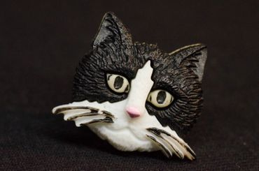 Cat Head Brooch Miniblings Cats pet animal Pin Button Buttons home kitten – Bild 3