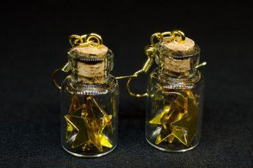 Sterne im Glas Ohrringe Miniblings Hänger Goldsterne in Flasche Sternchen gold – Bild 3