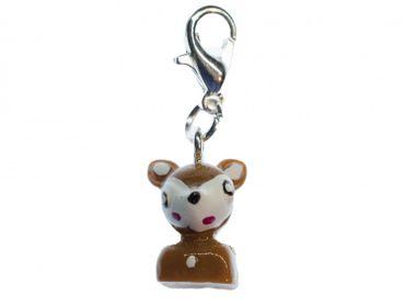 Deer Bambi Charm For Bracelet Wristlet Dangle Miniblings Fawn animal Dots Brown – Bild 2