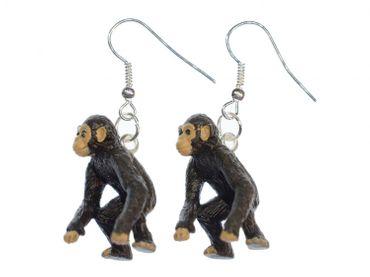 Chimpanzee Monkey Earrings Miniblings ape Jungle Zoo Rubber animal africa Small – Bild 1