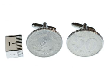 50 Pfennig penny GDR East Germany DDR money Cuff Links Cufflinks Miniblings Coin Nostalgia Silver plated with Box – Bild 2