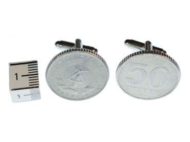 50 Pfennig DDR Manschettenknöpfe Miniblings Münzen Geld Ostalgie silber + Box – Bild 2