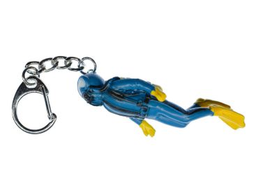 Diver Key Chain Key Ring Miniblings Pendant Skuba Diving Scuba water sport sea ocean Blue – Bild 1