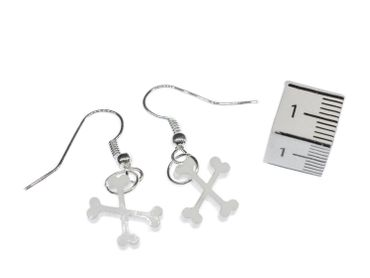 Bone Earrings Miniblings Crossed Bones Dog Stone Age Pirate Lc skeleton – Bild 2
