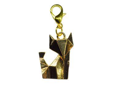 Fox Charm Zipper Pull Pendant Miniblings Pet Cat wolf animal Origami Golden – Bild 3