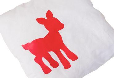 Pillow Children Pillow Baby Child Children Miniblings 23X23cm Deer Bambi White Red – Bild 3